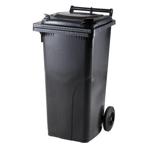 Juodas 120 litrų konteineris buitinėms atliekoms