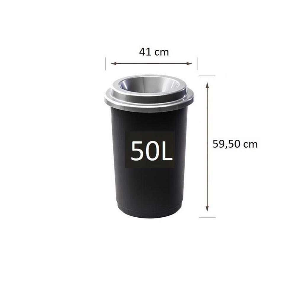 Plastikinė šiukšlių dėžė Eco Bin Pilku dangčiu 50 ltr