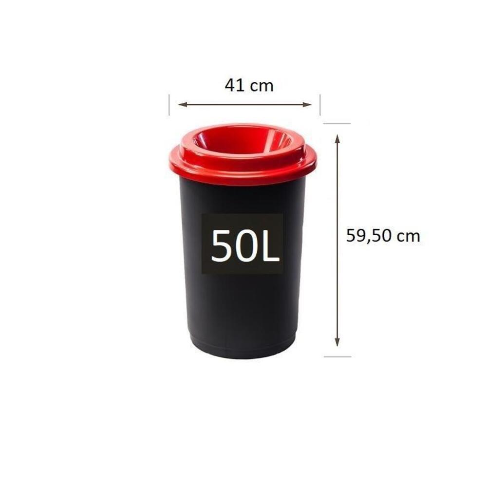Plastikinė šiukšlių dėžė Eco Bin Raudonu dangčiu 50 ltr