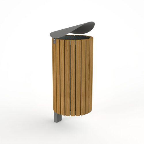 Medinė šiukšlių dėžė Tubo su stogeliu
