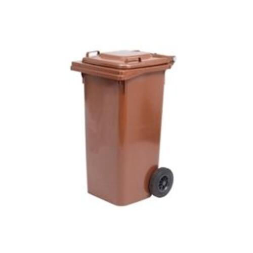 Rudas 120 litrų talpos konteineris buitinėms atliekoms