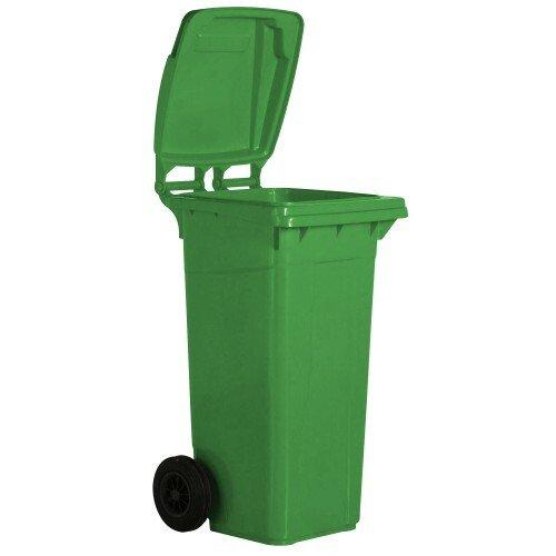 Žalias 240 litrų talpos konteineris buitinėms atliekoms