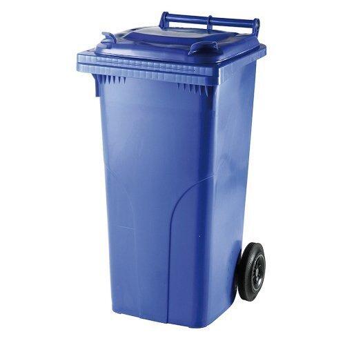 Mėlynas 120 litrų talpos konteineris POPIERIAUS atliekoms